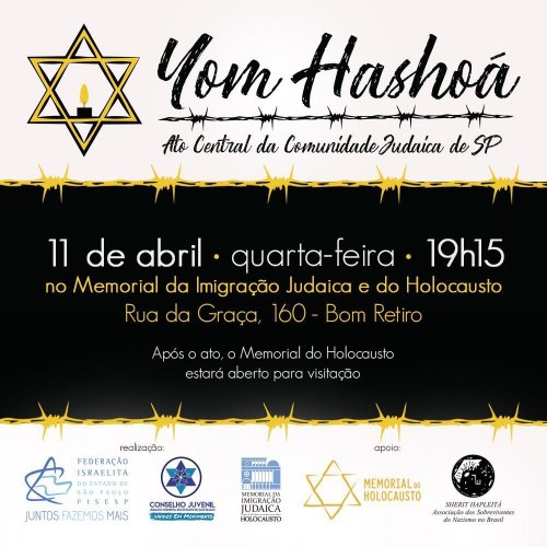 Ato Central de Yom Hashoá no Museu da Imigração Judaica e do Holocausto